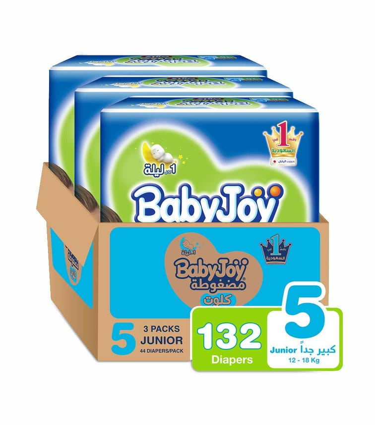 BABYJOY Cullotte Pants Diaper, Mega Pack Junior Size 5, Count 132, 12 - 18 Kg