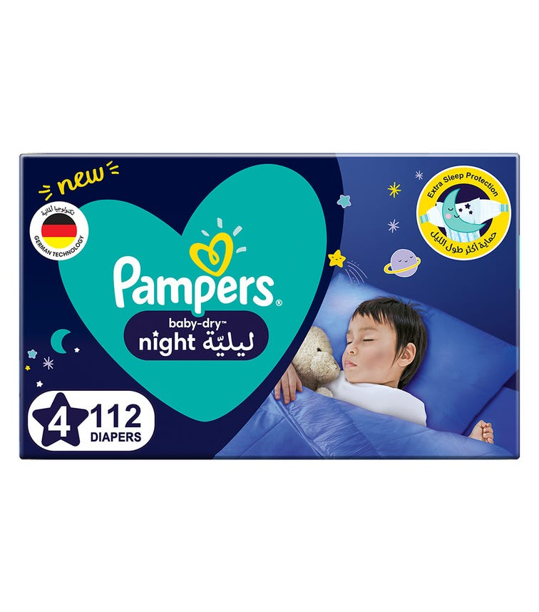 PAMPERS Baby-Dry Night Diapers - Size 4, 10-15 KG - 112 Pieces