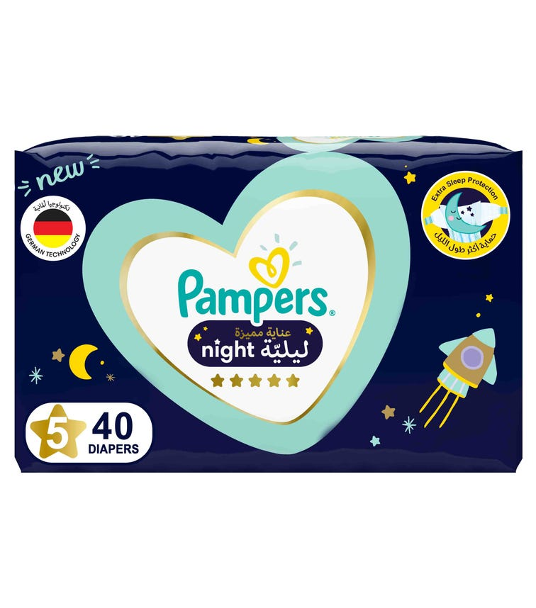PAMPERS Premium Care Night Diapers - Size 5, 12-17 KG - 40 Pieces