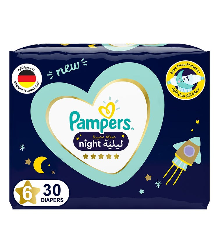 PAMPERS Premium Care Night Diapers - Size 6, 14+ KG - 30 Pieces