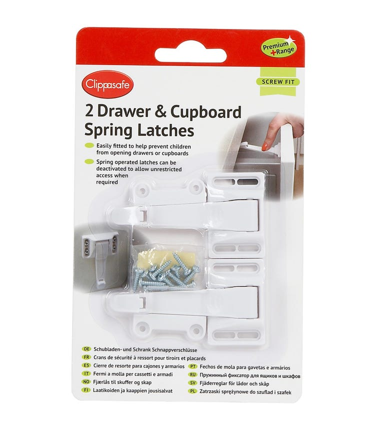 CLIPPASAFE Self-Adhesive Cupboard & Drawer Locks -  2 Pieces Per Pack (White)