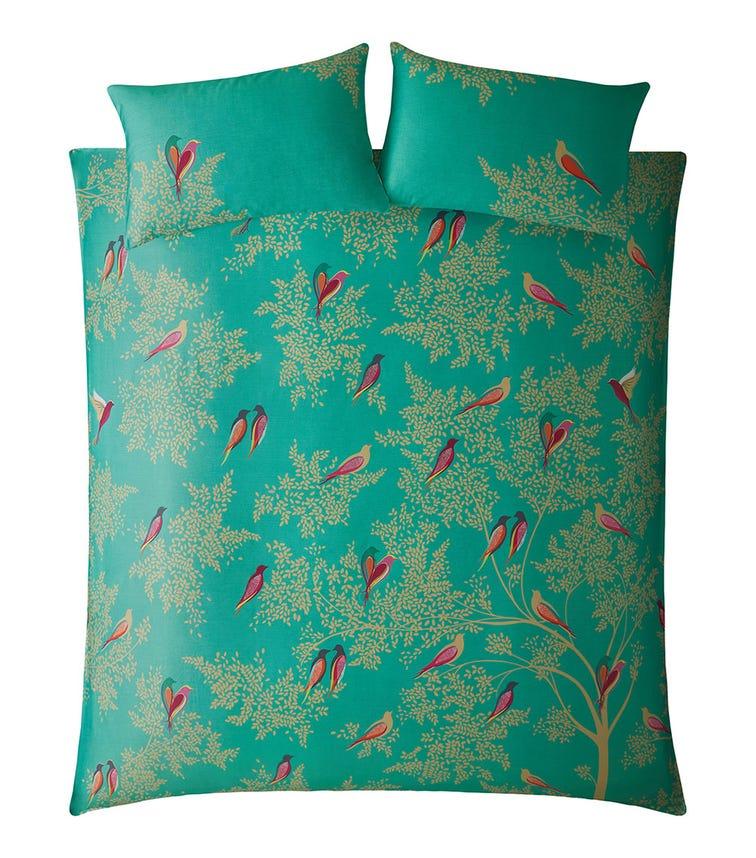 SARA MILLER Green Birds Print Super Quilt Set (260x220cm)