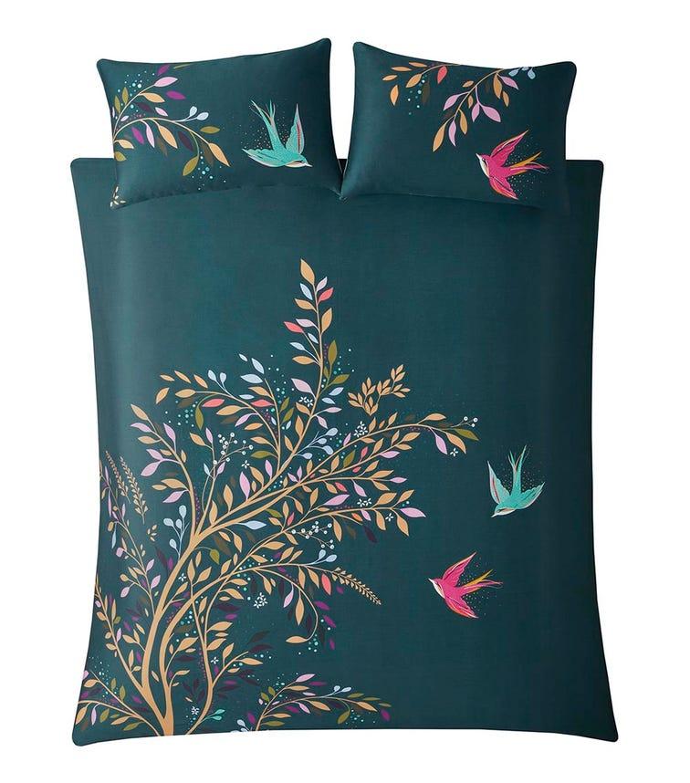 SARA MILLER Dancing Swallow Print Single Quilt Set (137x200cm)