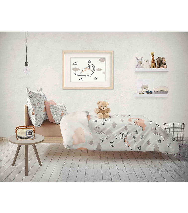 ELLI JUNIOR 100% Organic Double Sided Duvet Cover Set Dino/Cloud (Full Size Bed)