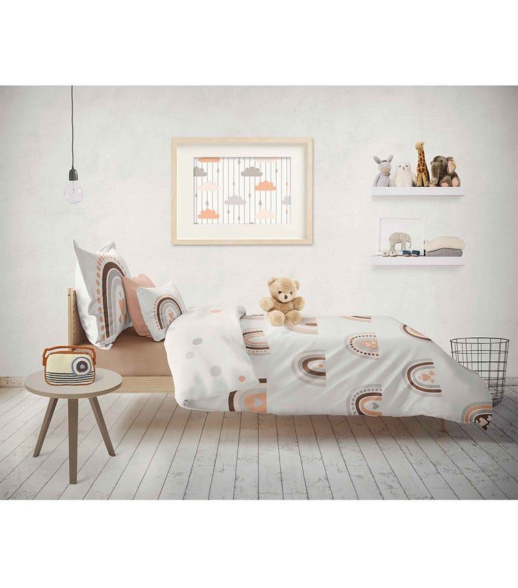ELLI JUNIOR 100% Organic Double Sided Duvet Cover Set Rainbow/Circles (Full Size Bed)