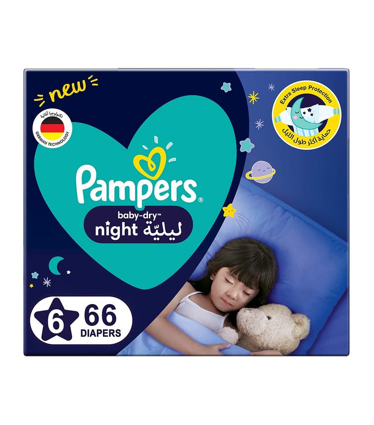 PAMPERS Baby-Dry Night Diapers - Size 6, 14+ KG - 66 Pieces