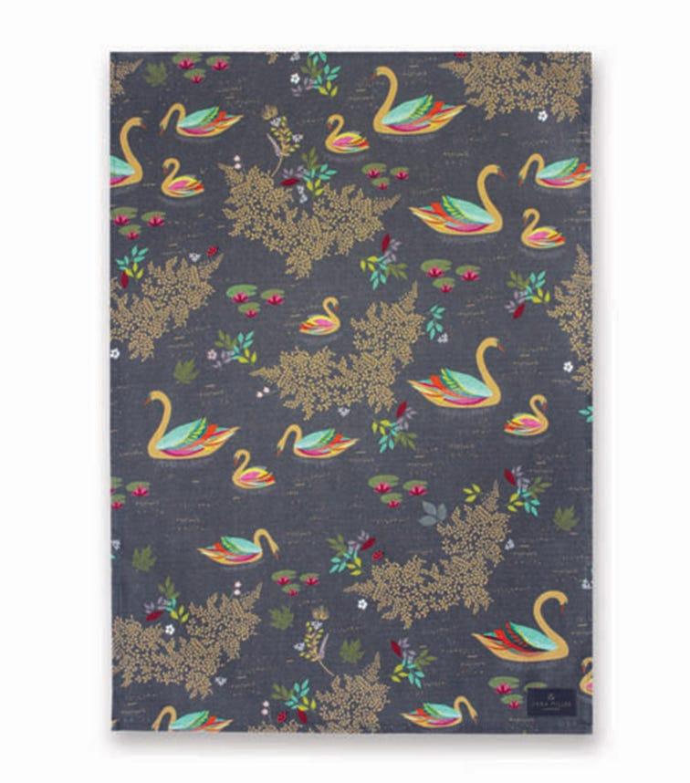 SARA MILLER Swan Repeat Tea Towel