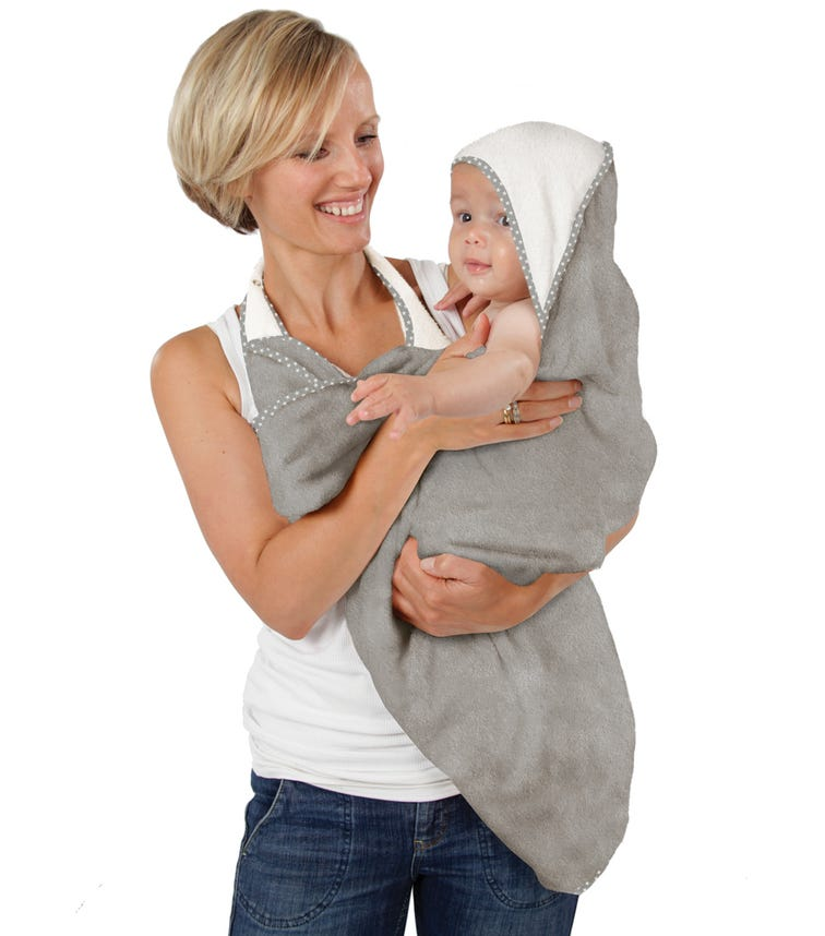CUDDLEDRY Handsfree Baby Bath Towel - Grey