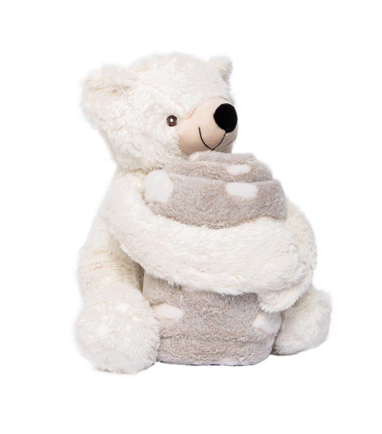 KIKKABOO Set Toy + Blanket Teddy White