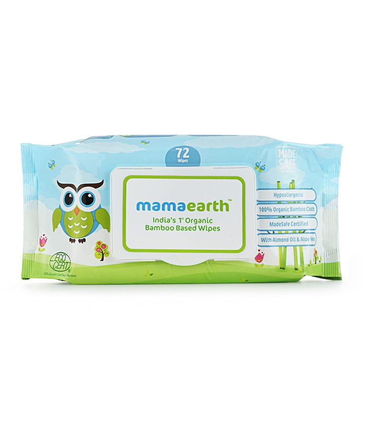 MAMAEARTH Organic Bamboo Based Baby Wipes, 72 Pieces