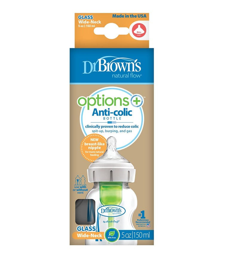 DR. BROWN'S 5 Oz/150 ML Glass Wide Neck Options Bottle