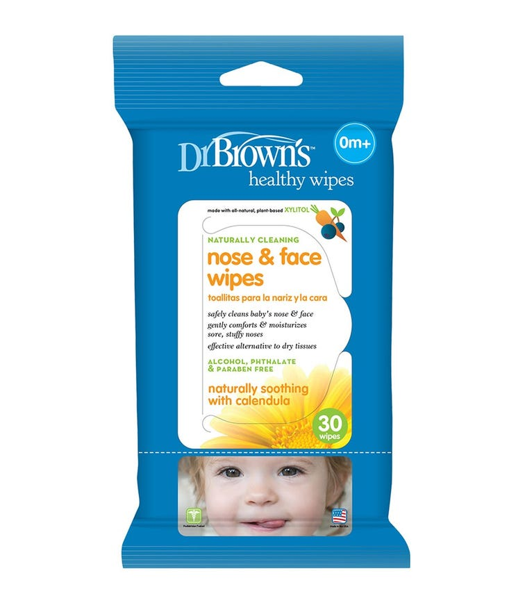 DR. BROWN'S Nose & Face Wipes 30 Pack