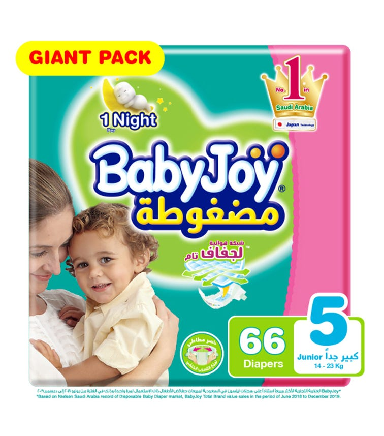 BABYJOY Compressed Diamond Pad Diaper, Giant Pack Junior Size 5, Count 66, 14 - 23 Kg