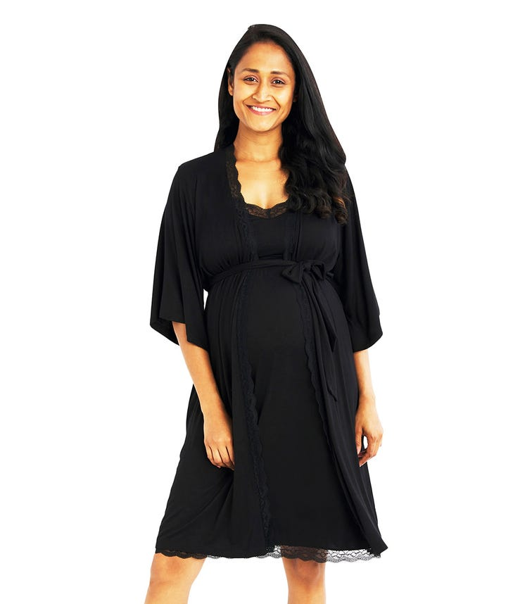 A PEA IN THE POD Lace Trim Long Sleeve Robe