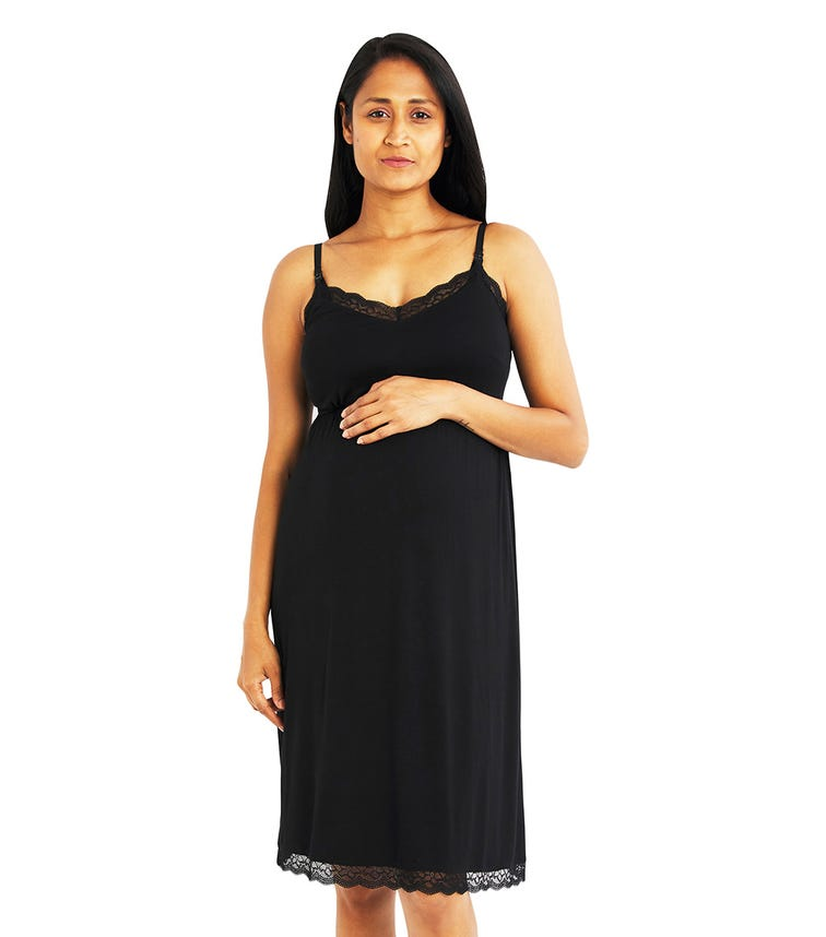 A PEA IN THE POD Lace Trim Nursing Nightgown