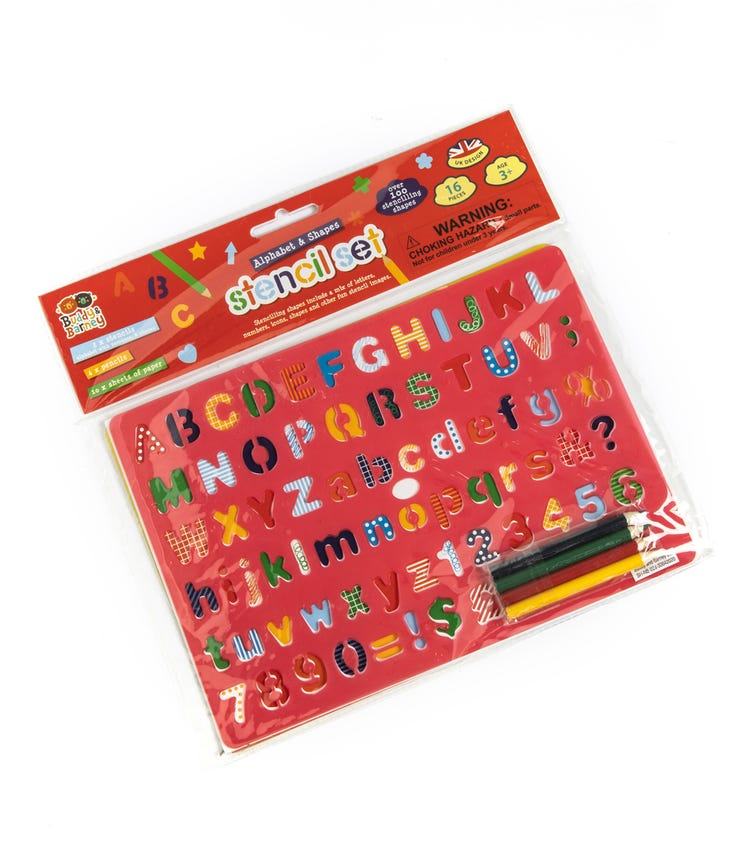 BUDDY & BARNEY Stencil Double Pack With Pencils Alphabet And Shapes