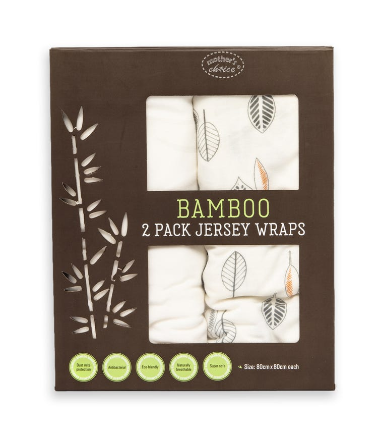 MOTHER'S CHOICE Bamboo Jersey Wrap 2 Pack Off-White