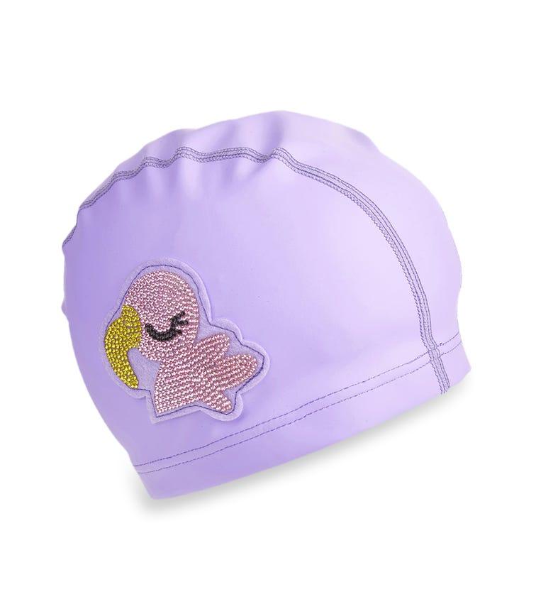 BLING2O Purple Flamingo Swim Cap