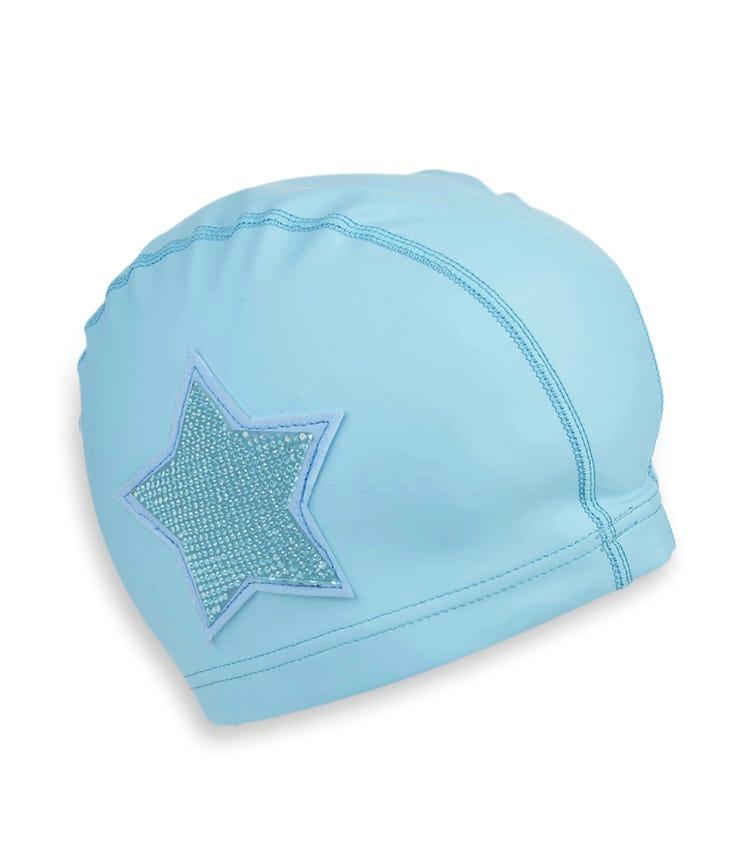 BLING2O Blue Rhinestone Star Swim Cap