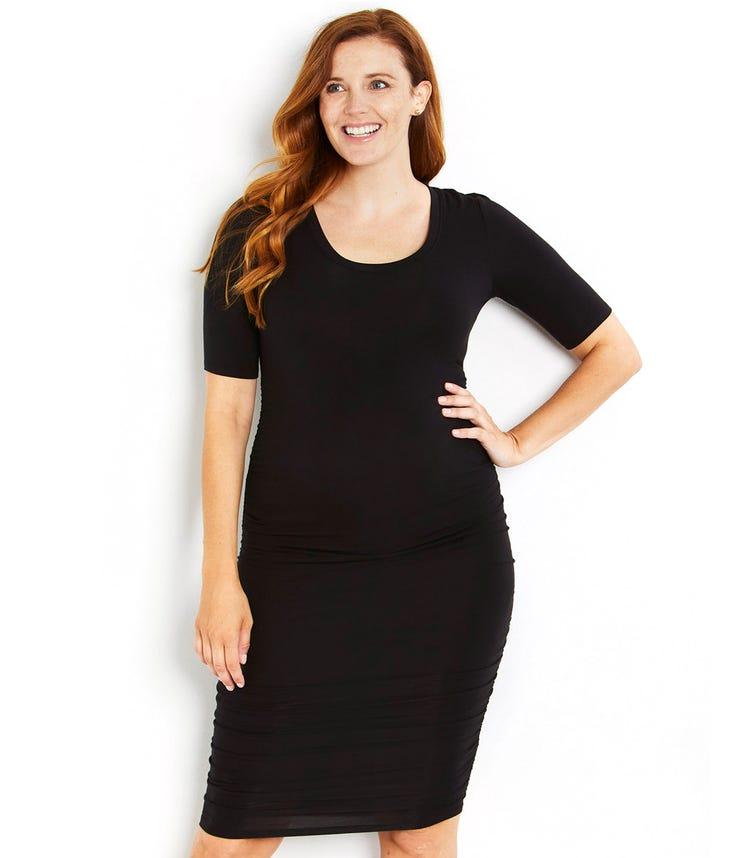 MOTHERHOOD MATERNITY Elbow Sleeve Ruched Dress