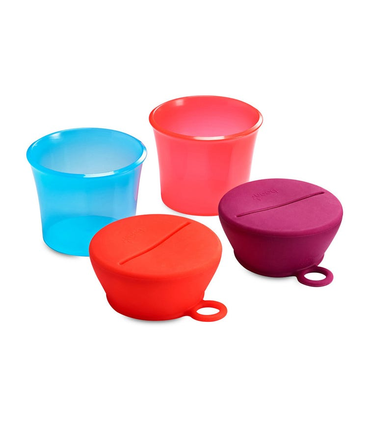 BOON Snug Snack Containers With Stretchy Silicone Lids Girl