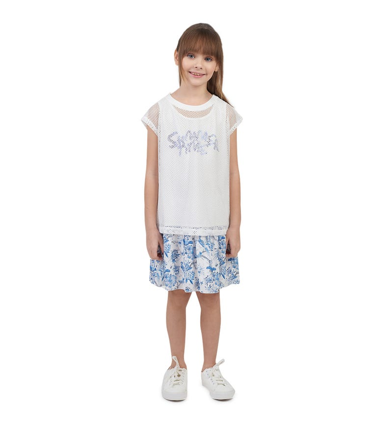 CHOUPETTE Mesh Blouse And Combined Dress 2 Piece Set