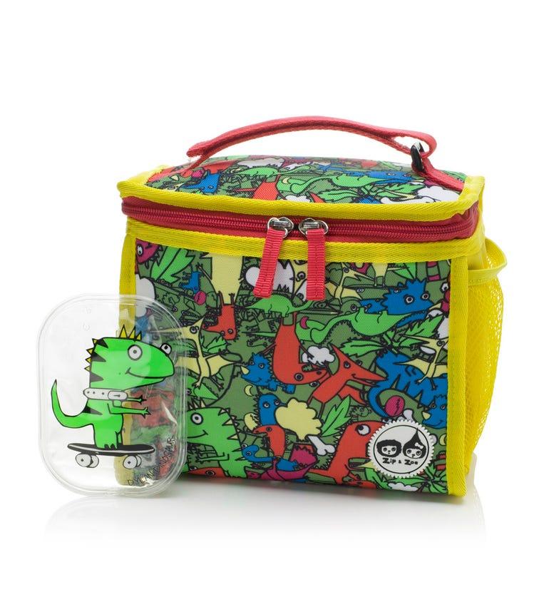 ZIP & ZOE Zipped Lunch Bag & Ice Pack - Dino Multi
