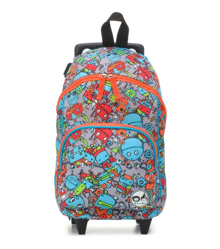 ZIP & ZOE Kid's Mini Trolley Bag - Robot Blue