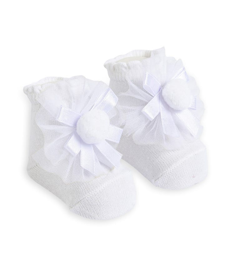 OLAY SOCKS Baby Socks - White Tulle and Ribboned Pom
