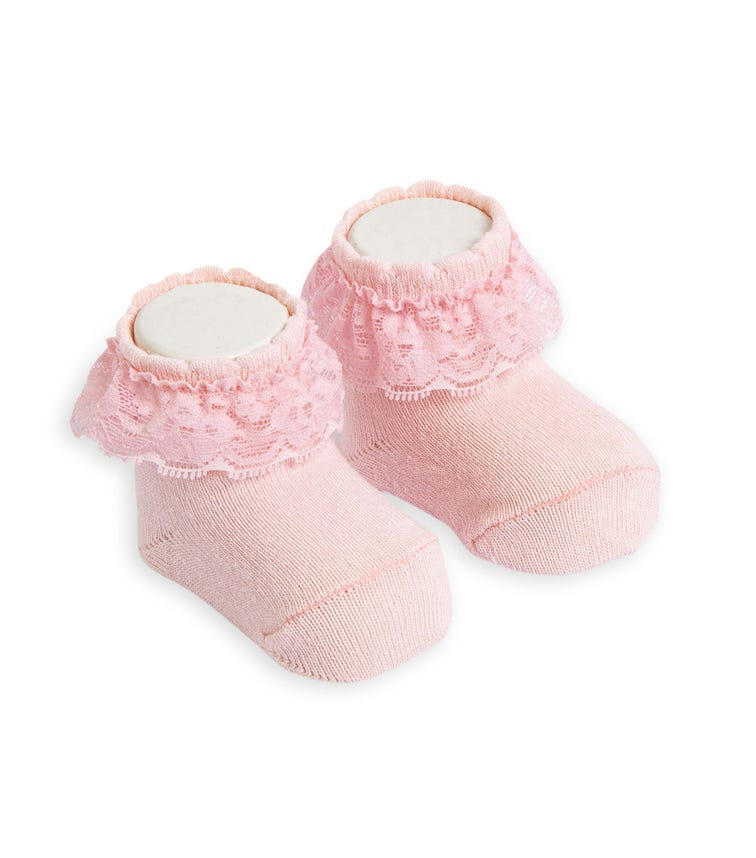 OLAY SOCKS Baby Socks - Pink Lace