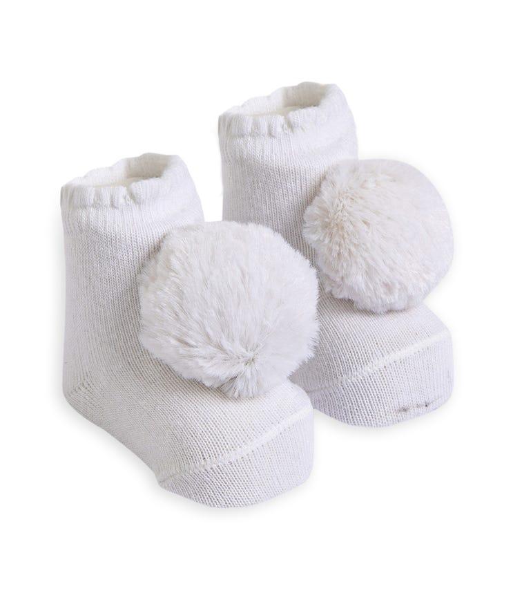 OLAY SOCKS Baby Socks - White Fluffy Pom Pom