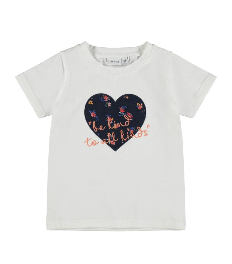 NAME IT Heart & Slogan Detail T-Shirt