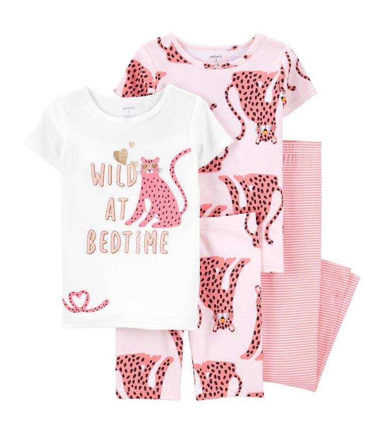 CARTER'S 4-Piece Leopard 100% Snug Fit Cotton PJs