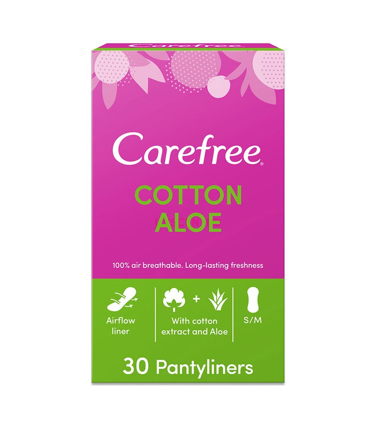 CAREFREE Panty Liners, Cotton, Aloe, Pack Of 30