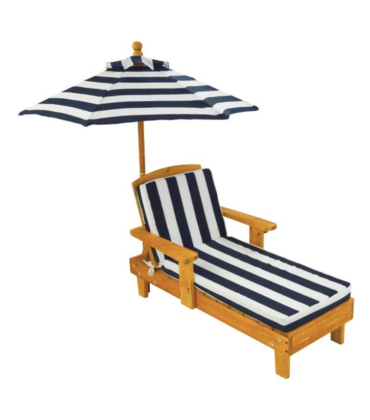 KIDKRAFT Outdoor Chaise With Umbrella Navy