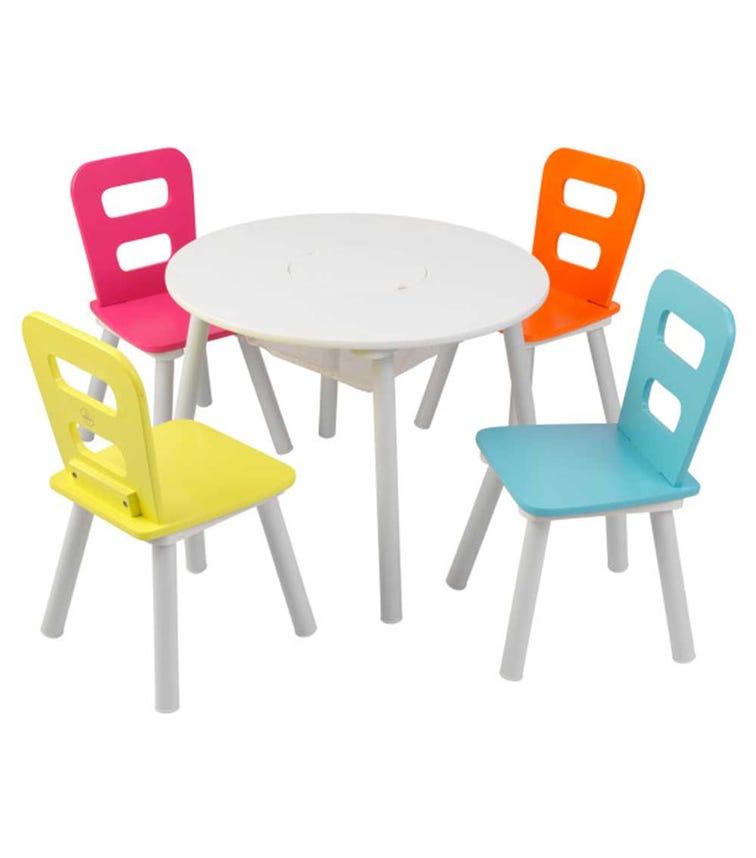 KIDKRAFT Round Storage Table & 4 Chair Set