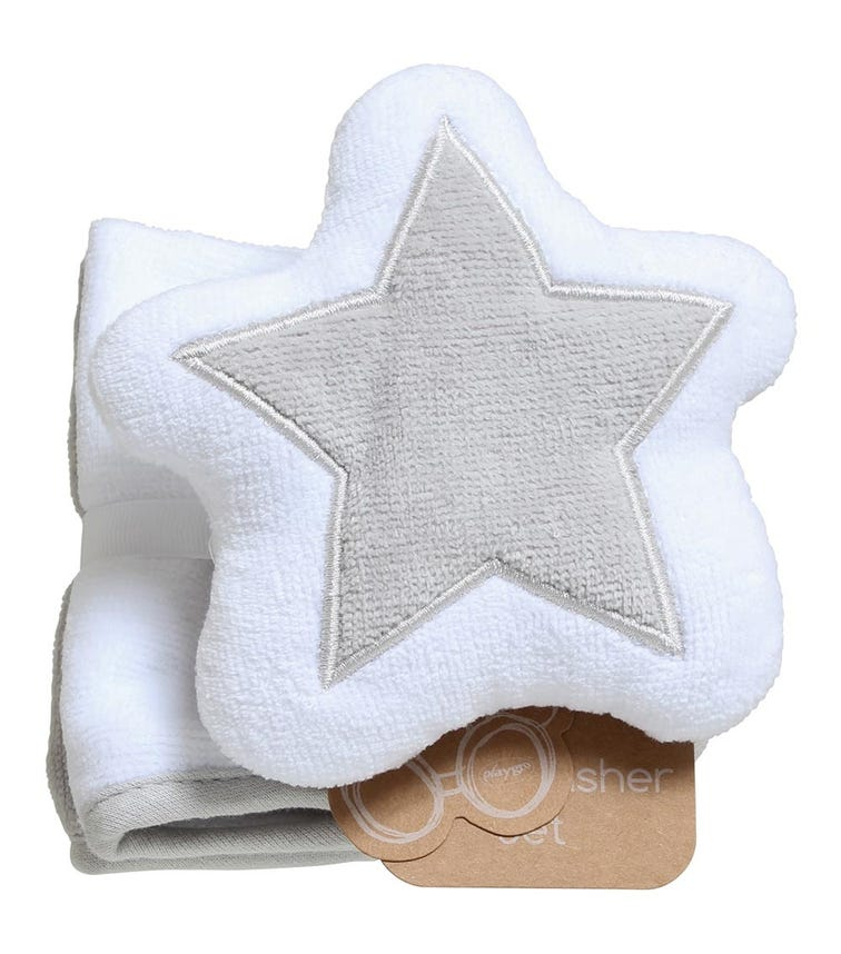 PLAYGRO Home Star Mitt And Face Washer Grey And White