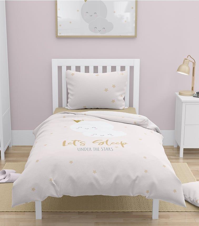 ELLI JUNIOR 100% Organic Double Sided Duvet Cover Set Letssleep/Stars (Full Size Bed)