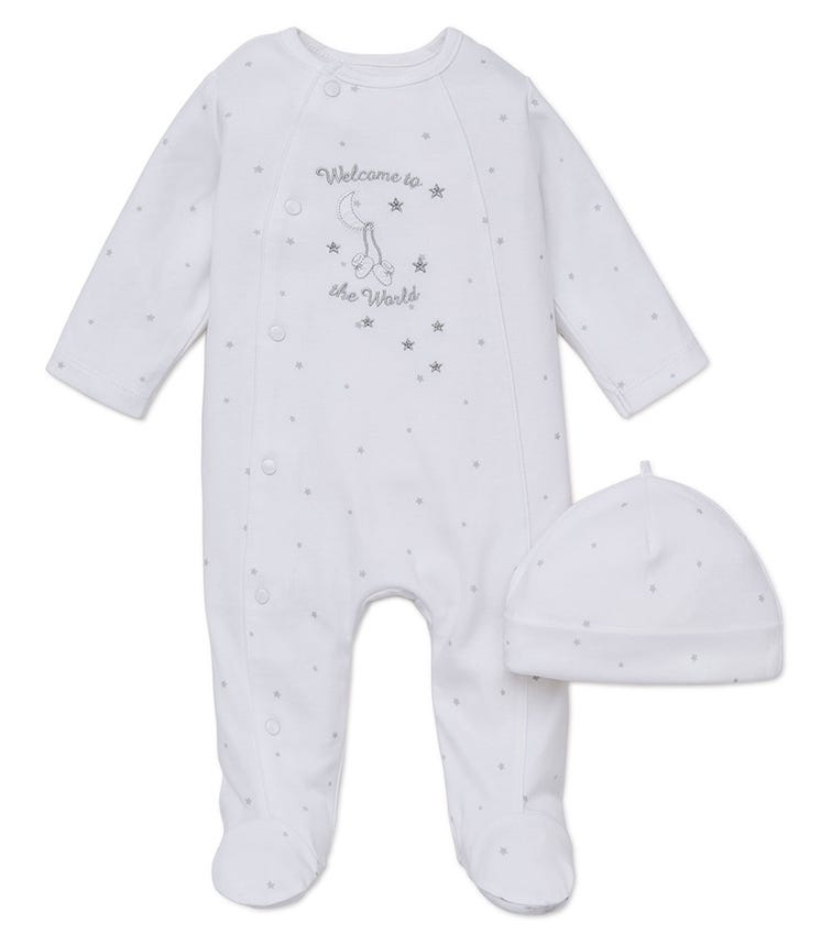 LITTLE ME Welcome To The World Romper With Footie And Hat