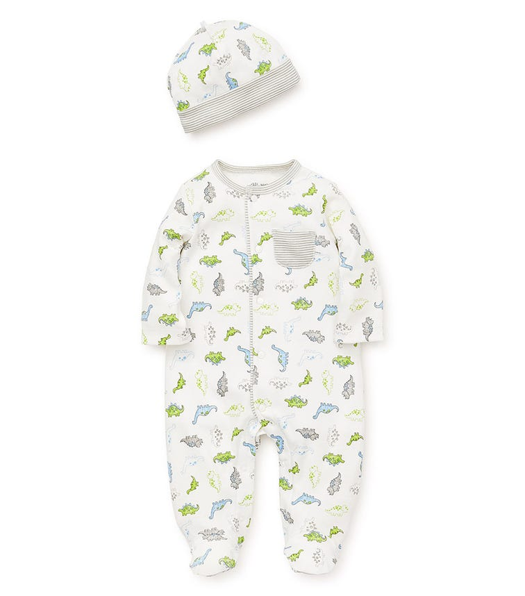 LITTLE ME Tiny Dinos Romper With Footie And Hat