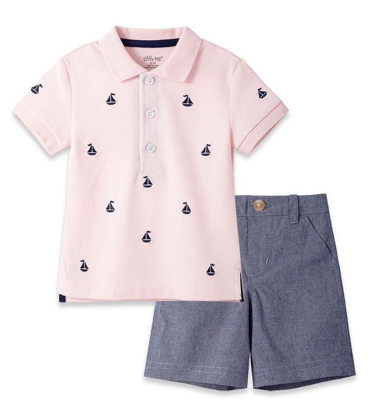 LITTLE ME Pink Boat Polo Short Set