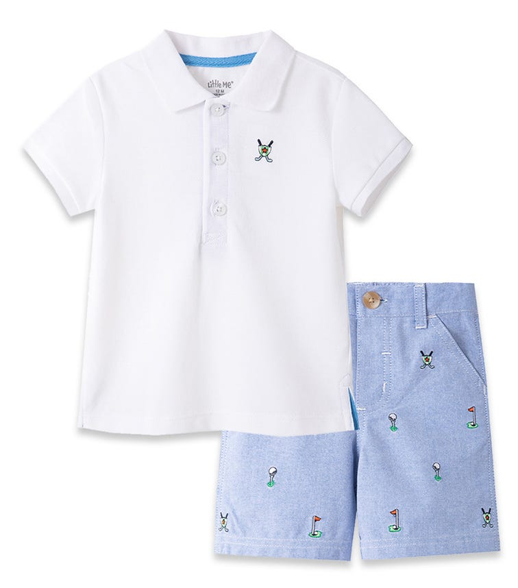 LITTLE ME Golf Polo Short Set
