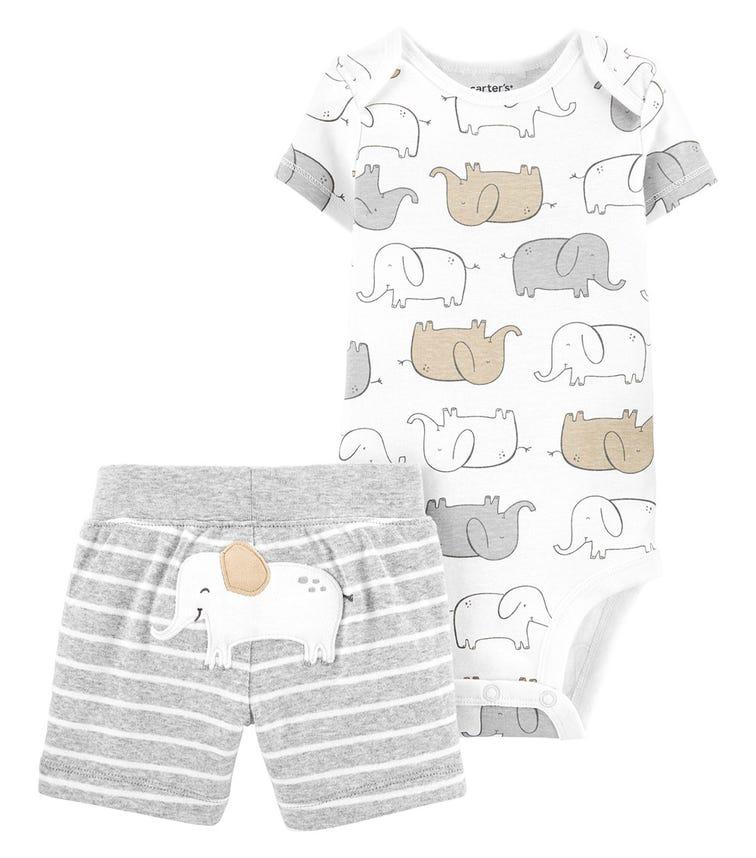 CARTER'S 2-Piece Elephant Bodysuit And Short Set