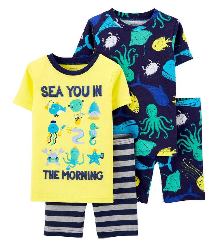 CARTER'S 4-Piece Sea 100% Snug Fit Cotton PJs