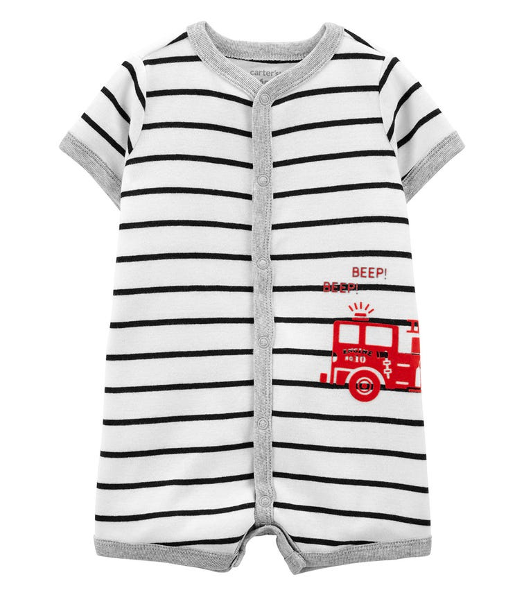 CARTER'S Striped Snap-Front Romper