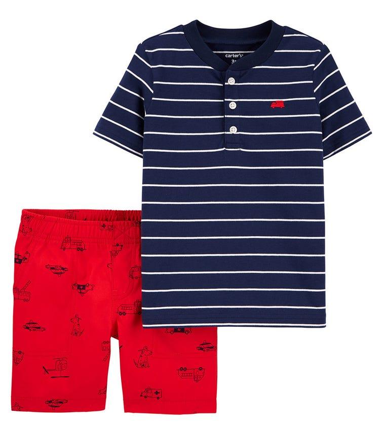 CARTER'S 2-Piece Striped Jersey Henley & Poplin Short Set