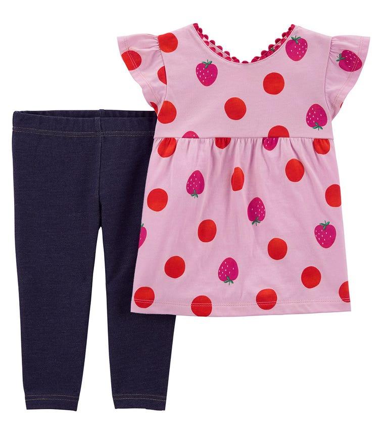 CARTER'S 2-Piece Strawberry Top & Knit Denim Short Set