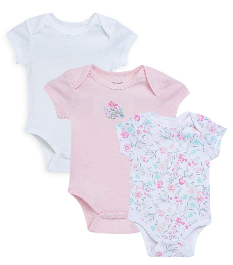 LITTLE ME 3-Pack Foral Watercolor Bodysuit
