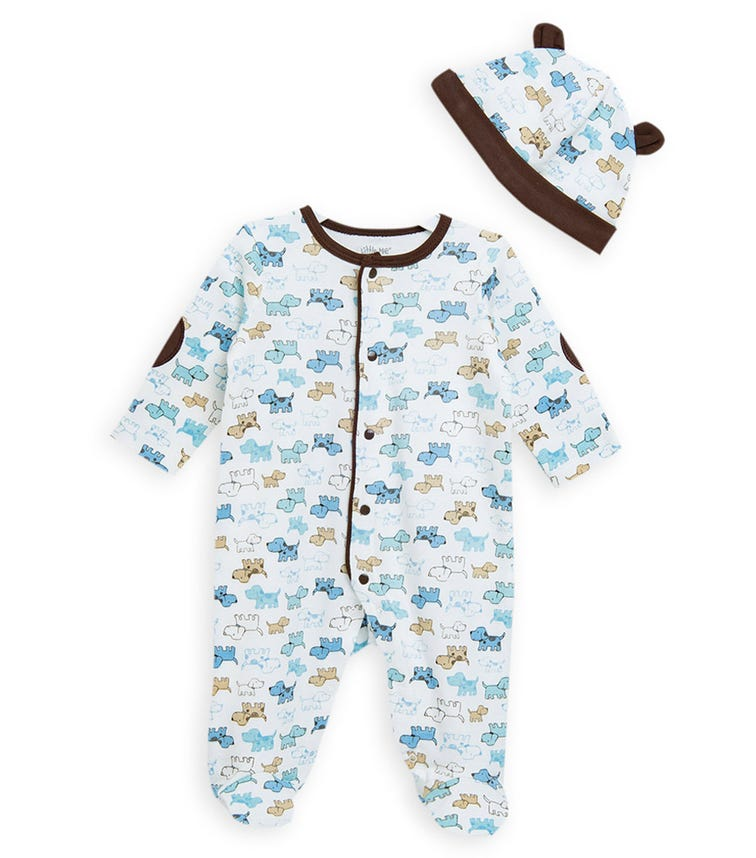 LITTLE ME Cute Puppy Onesie With Footie And Hat