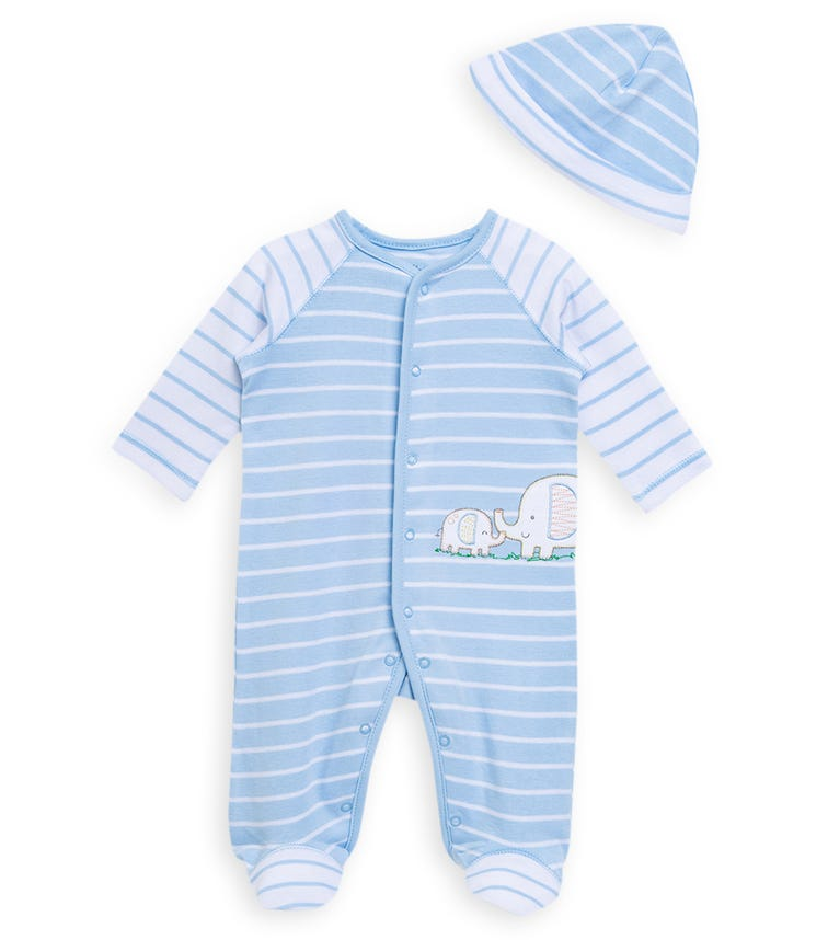 LITTLE ME Elephants Onesie With Footie And Hat